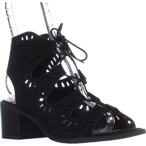 ESPRIT Lotus Cutout Lace Up Sandals, Black - 9 us