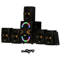 Acoustic Audio AA5210 Home 5.1 Speaker System with Bluetooth LED & 2 Ext. Cables