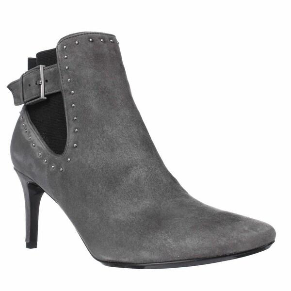 Calvin Klein Jozie Pointed Toe Ankle Booties, Shadow Grey/Black