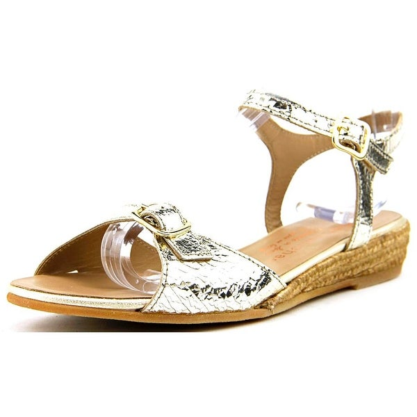Eric Michael Nobo Women Open Toe Leather Gold Wedge Sandal