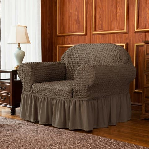 Subrtex 1-Piece Seersucker Skirt Slipcover Stretch Cover Armchair