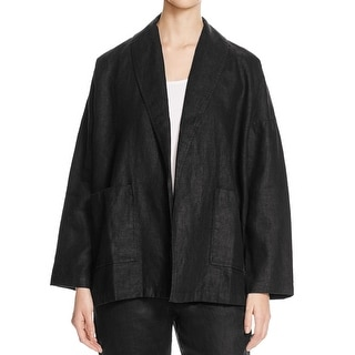 Eileen Fisher NEW Black Women Large L Shawl Collar Open-Front Jacket