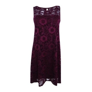 Signature by Robbie Bee Women's Petite Lace Fit & Flare Dress (PM, Wine) - Wine - pm