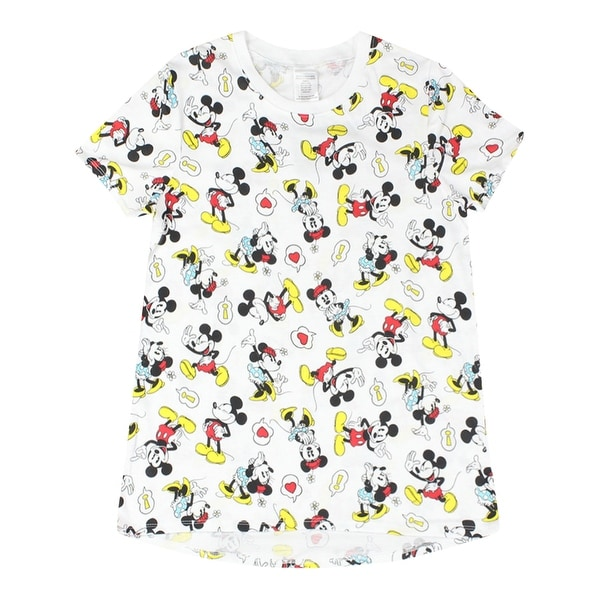 Shop Disney Classic Minnie and Mickey Mouse All Over Print Women s White  T-shirt - Free Shipping On Orders Over  45 - Overstock - 17064862 0d66e26cc