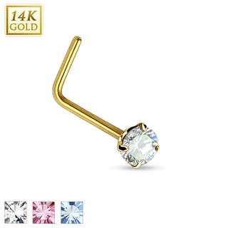 14Kt Gold 2mm Prong Round CZ L Bend Nose Ring - 20GA (Sold Ind.)