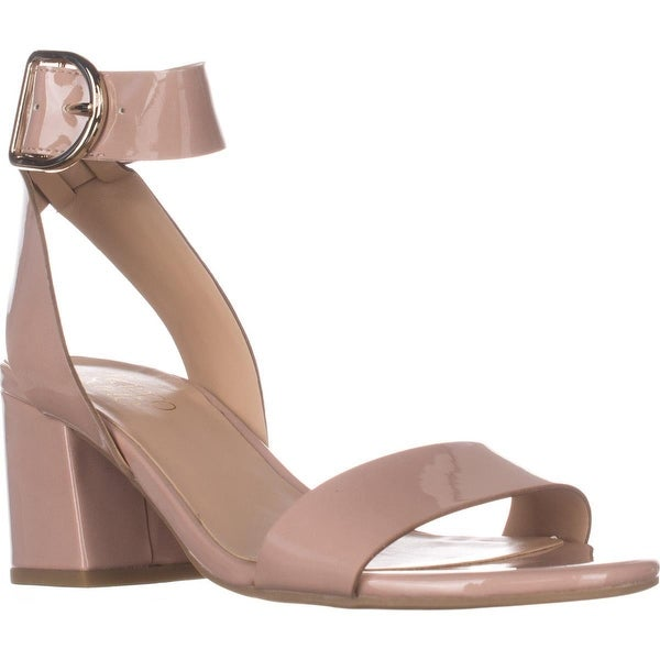 Franco Sarto Marcy Ankle Strap Block-Heel Sandals, Rose Patent