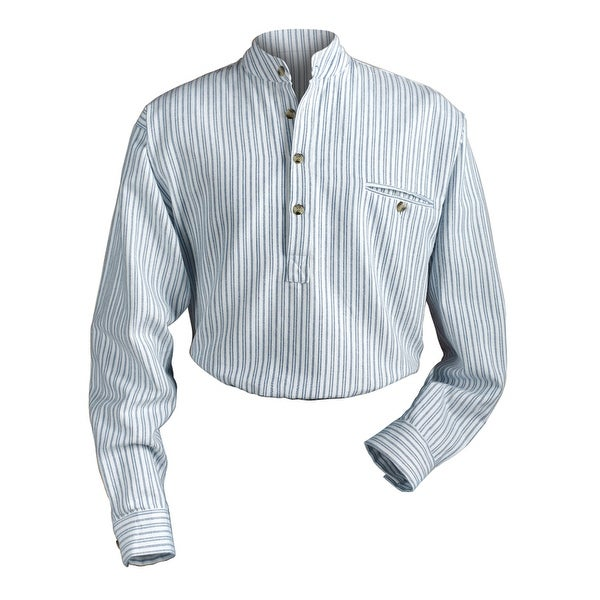 Men's Irish Grandfather Blue and White Stripe Banded Collar Shirt