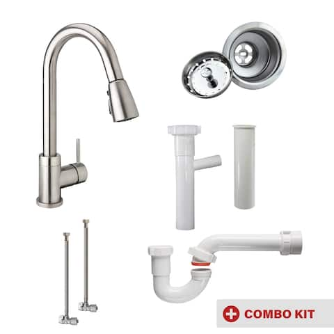 Keeney MK-URB78CBN-SD Single Bowl Kitchen Kit with Urbania Faucet and Dishwasher Connection, Brushed Nickel