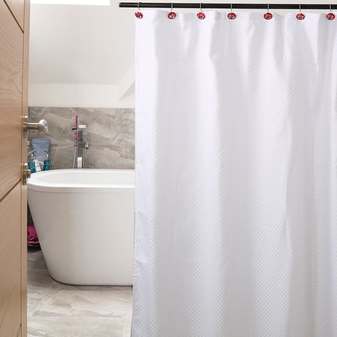 Acrylic Red Shower Curtain Hook Rolling Hooks Rings Clip Bathroom Decorative