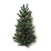 2' Pre-Lit Canadian Pine Artificial Christmas Tree - Multi Lights
