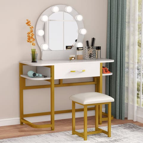 Makeup / Vanity Table Set with Lighted Mirror, Drawers and Stool