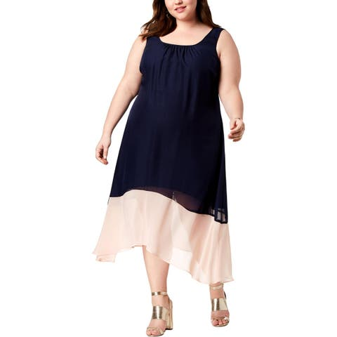 Love Squared Womens Plus Party Dress Colorblock Knee-Length
