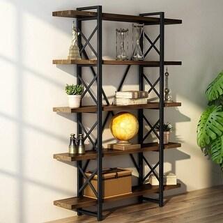 Solid Wood 5-Shelf Industrial Style Bookcase Book Shelves, Metal Wood Free Vintage Bookshelfs, Antique Nutmeg - antique nutmeg