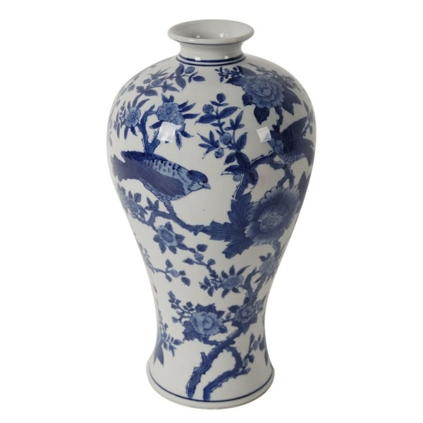 "13"" Blue and White Crafted Bird Floral Traditional Vase - N/A"