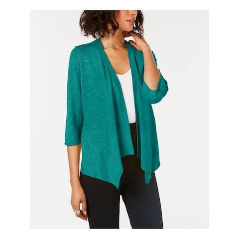 ALFANI Womens Green 3/4 Sleeve Open Cardigan Top Size M
