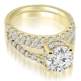 1.61 cttw. 14K Yellow Gold Lucida Cathedral Split Shank Diamond Bridal Set