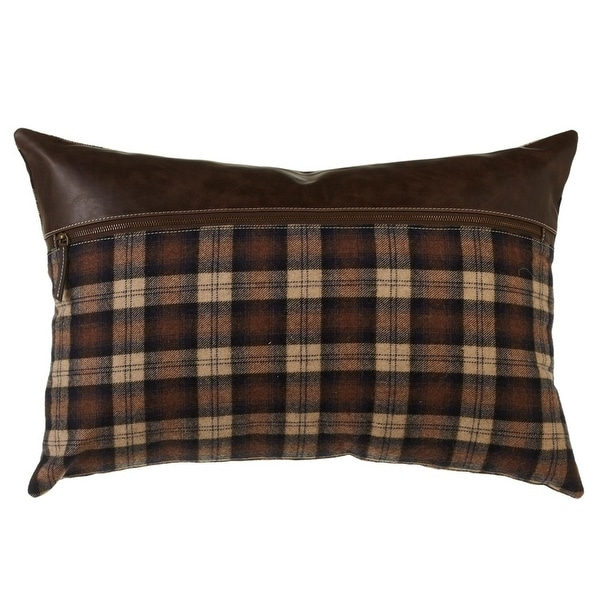 """Set of 2 Rustic Brown and Black Plaid Patterned Decorative Pillows 24"""""""
