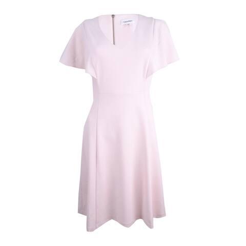Calvin Klein Women's PetiteFlutter-Sleeve A-Line Dress
