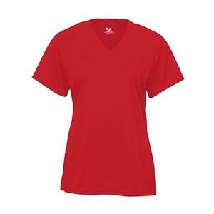 Badger B-Core Girl's V-Neck T-Shirt - Red - M