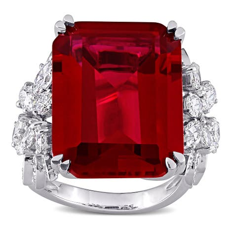 Miadora 14k White Gold 27ct TGW Created Ruby & 1 3/4ct TDW Multi-cut Diamond Cocktail Ring