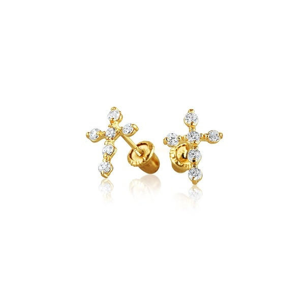 Bling Jewelry Kids CZ Square Saftey Screw Back Stud earrings 14k Gold 3mm