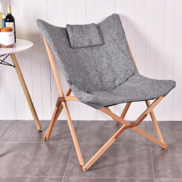 Costway Folding Butterfly Chair Seat Wood Frame Home