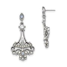 Silvertone Blue Crystal Acrylic Pearl Post Earrings