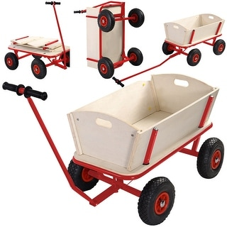 Costway Children Kids Toys Cart Wagon Stroller Outdoor Garden Tools W/ Wood Railing