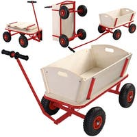 Costway Children Kids Toys Cart Wagon Stroller Outdoor Garden Tools W/ Wood Railing