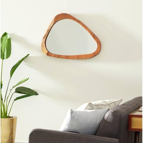 """Large Ellipse Teak Wood Wall Mirror, 33"""" x 24"""" - 32 x 2 x 25"""
