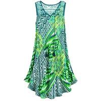 "Women's Green Patterned Midi Dress - 42"" Sleeveless Mixed Print with Lace"