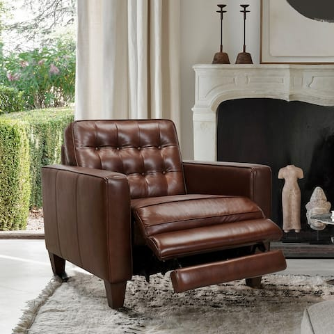 Wesley Leather Power Reclining Tuxedo Arm Accent Chair