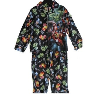 Avengers Little Boys Black Cartoon Inspired Print 2 Pc Pajama Set 4-6
