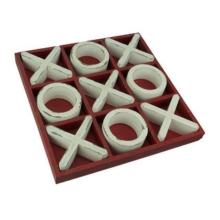 Distressed Finish Wooden Tabletop Tic Tac Toe Game