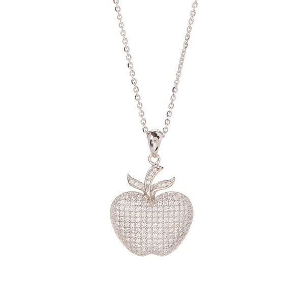 Cubic Zirconia & Sterling Silver Apple Pendant Necklace
