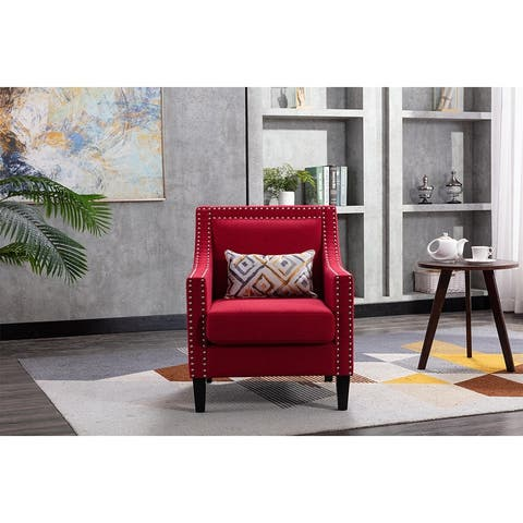 Moda armchair living room chair with solid wood legs Red Linen
