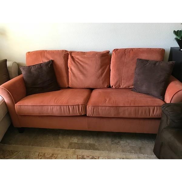Handy Living Rockford Pumpkin Orange Velvet SoFast Sofa   Free Shipping  Today   Overstock.com   17136136