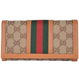 NEW Gucci Women's 258040 Canvas GG Guccissima Web Stripe Continental Wallet