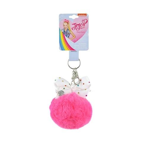 Key chain Jojo Siwa Furball w/ Bow, Pink Pom Pom Ball Fashion Purse Punk