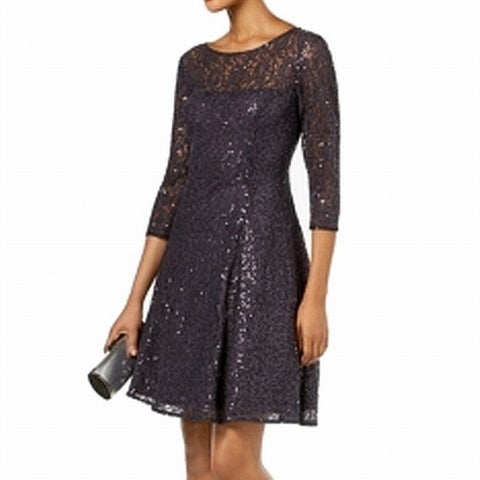 SLNY Gray Womens Size 8 Sequin Lace Fit And Flare A-Line Dress