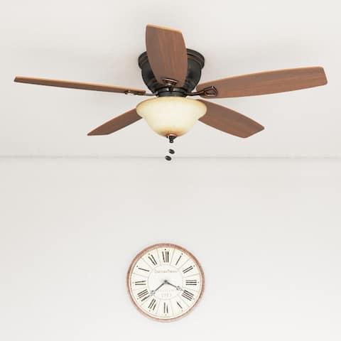 "Honeywell Glen Alden 52"" Oil Rubbed Bronze Low Profile LED Ceiling Fan with Light"