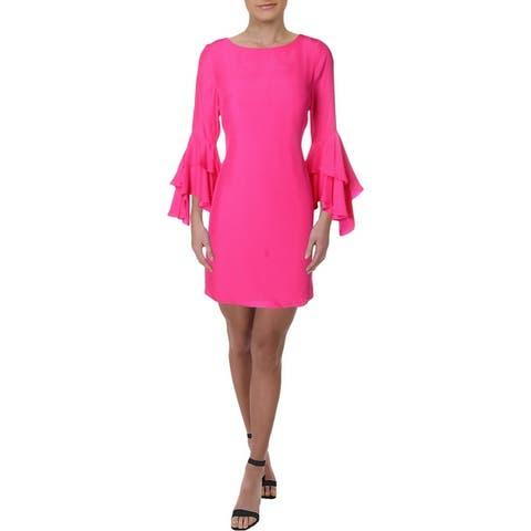 Julie Brown Womens Isabella Party Dress Silk Bell Sleeve - Cheerful Pink
