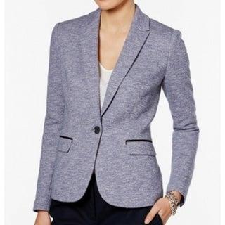 Tommy Hilfiger NEW Blue Tweed Women's Size 14 Piped-Trim Blazer Jacket