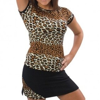 Pizzazz Girls Size 2T-16 Leopard Print Cap Sleeve Tee Cheer Dance Wear
