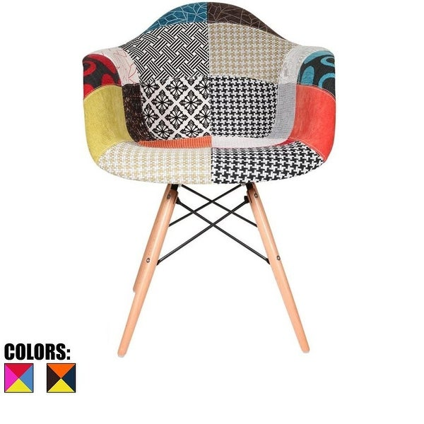 2xhome Modern Plastic Armchair With Arm Dining Chair Patchwork Fabric with Natural Wood Legs