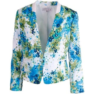 Tahari ASL Womens Cally Printed Faux Trim Blazer - 4P