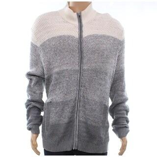 Alfani Gray Vanilla Mens Size 3XL Colorblock Full Zip Sweater