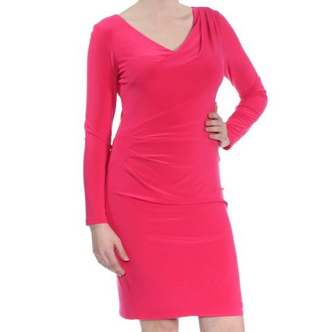 RALPH LAUREN Womens Pink Pleated Long Sleeve V Neck Above The Knee Sheath Cocktail Dress Size: 8