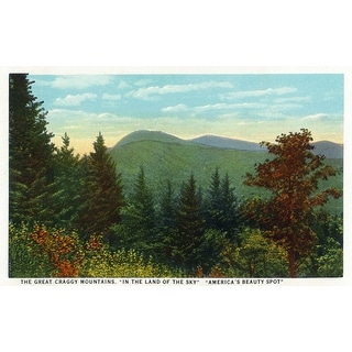 Blue Ridge Mountains, North Carolina - Great Craggy Mountains View - Vintage Halftone (Poker Playing Cards Deck)