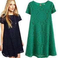 Short-Sleeved Hollow Kaleidoscope Dress